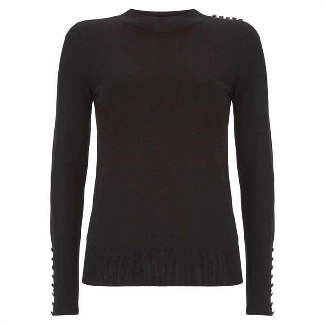 Mint Velvet Black Buttoned Fitted Jumper